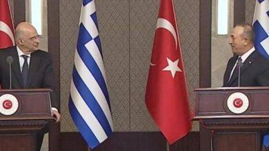 صورة اشتباك بين وزيري خارجية اليونان وتركيا «فيديو»